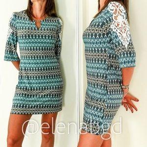 Tacera Lace 3/4 Sleeve Keyhole Jersey Mini Dress